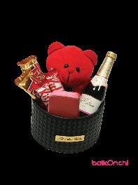 باکس هدیه خرس عروسکی، ست زنانه، شکلات و شامپاین