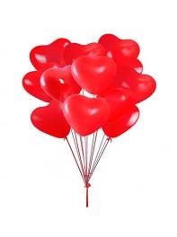 دسته بادکنک دوازده تایی قلب قرمز لاتکس هلیومی به همراه پایه کادویی