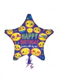 بادکنک فویلی ستاره  طرح ایموجی  Happy Birthday