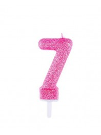 شمع تولد عدد هفت اکلیلی صورتی