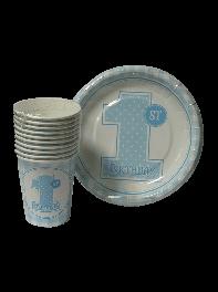 پک 20 عددی لیوان و بشقاب کاغذی تم جشن تولد یکسالگی پسرانه آبی وسفید