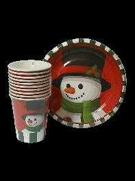 پک ده عددی لیوان و بشقاب کاغذی تم آدم برفی کریسمس