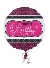 بادکنک فویلی Happy Birthday تبریک تولد سفید وصورتی