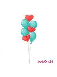 دسته بادکنک هدیه عاشقانه قلب و آبی فیروژه ای (دسته بادکنک)
