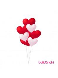 دسته بادکنک هدیه عاشقانه قلب سفید و قرمز