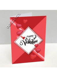کارت پستال ولنتاین قرمز طرح لوزی سفید