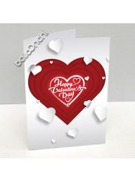 کارت پستال ولنتاین سفید طرح قلب قرمز