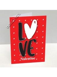 کارت پستال دوستت دارم قرمز خال خالی با طرح قلب