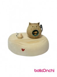 ست رومیزی هدیه فانتزی موش و گربه چاق با حوض ماهی (صنایع دستی)