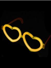 عینک شکل قلب شبرنگ یا شب تاب (black light) زرد