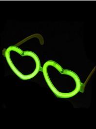 عینک شکل قلب شبرنگ یا شب تاب (black light) سبز