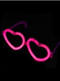 عینک شکل قلب شبرنگ یا شب تاب (black light) صورتی