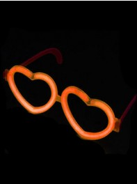 عینک شکل قلب شبرنگ یا شب تاب (black light) نارنجی