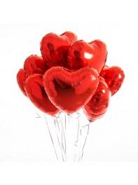دسته بادکنک هشت تایی قلب قرمز فویلی هلیومی به همراه پایه کادویی