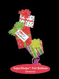 بادکنک جعبه های هدیه با پیام تبریک کریسمس فویلی هلیومی