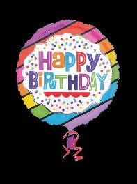 بادکنک تبریک تولد فویلی هلیومی سفید و رنگین کمانی