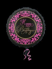 بادکنک تبریک تولد فویلی هلیومی دخترانه با رنگ مشکی، صورتی و طلایی