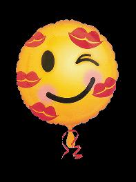 ادکنک فویلی شکلک (ایموجی) چشمک و لبخند عاشقانه هلیومی