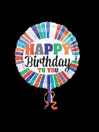 بادکنک فویلی تولدت مبارک Happy Birthday to You گرد رنگی رنگی با زمینه سفید