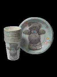 پک 20 عددی لیوان و بشقاب کاغذی تم تولد خرس عروسکی پسرانه آبی و طوسی