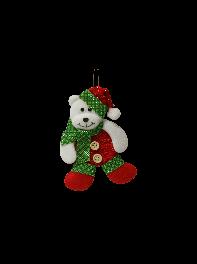 عروسک  آویز خرس کریسمسی بافتنی