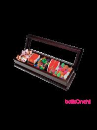 پک هدیه یلدا با جعبه چوبی پنج ردیفه همراه با سه نوع خوراکی