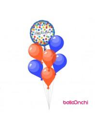 دسته بادکنک تبریک تولد فویلی رنگی ، آبی و نارنجی (دسته بادکنک)