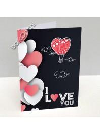کارت پستال دوستت دارم مشکی با طرح بالون قلب