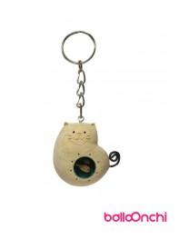 جا کلیدی گربه چاق چوبی و حوض ماهی مدل نشسته (صنایع دستی)