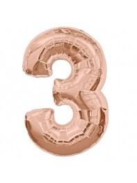 خرید بادکنک های فویلی عدد سه (3)انگلیسی در رنگ های طلایی، نقره ای ،رزگلد،آبی،مشکی، صورتی،تهران،40 و 80 سانتی متری
