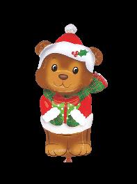 بادکنک خرس با لباس بابا نوئل کریسمس فویلی هلیومی (شکل دار