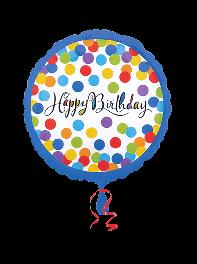 بادکنک تبریک تولد فویلی هلیومی کانفتی رنگی رنگی