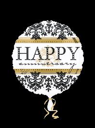 بادکنک فویلی Happy Birthday تبریک تولد مشکی و سفید