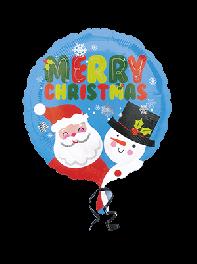 بادکنک فویلی گرد کریسمس بابا نوئل و آدم برفی