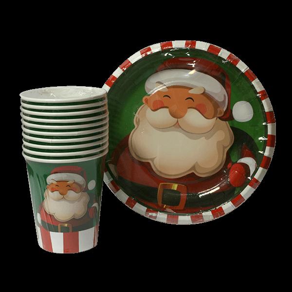 پک ده عددی لیوان و بشقاب کاغذی  تم بابانوئل کریسمس