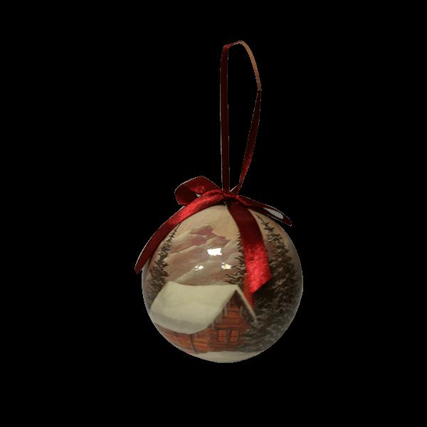گوی تزئینی درخت کریسمس طرح درخت کاج و کلبه برفی