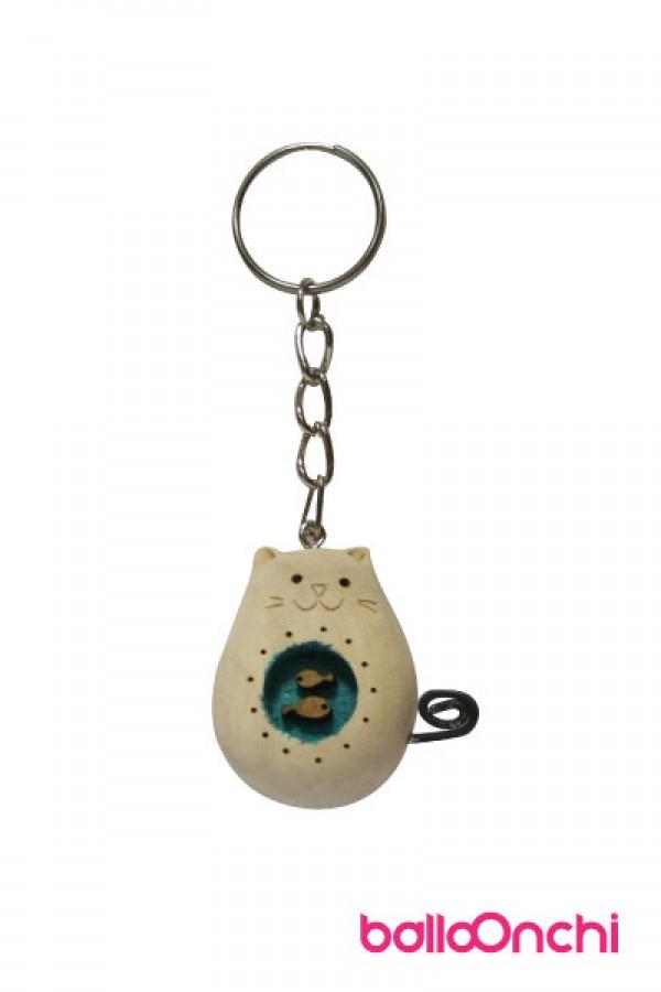 جا کلیدی گربه چاق چوبی و حوض ماهی مدل دراز (صنایع دستی)