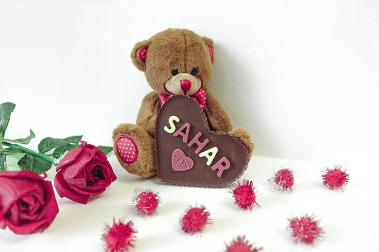 پکیج هدیه شکلات با حروف اسم و عروسک از راه دور