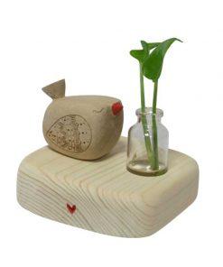 ست کبوتر چوبی با گلدان