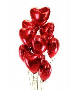 دسته بادکنک فویلی قلب قرمز