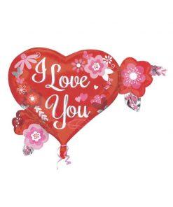 بادکنک فویلی قلبی قرمز طرح i love you