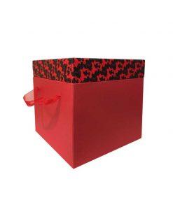 جعبه قرمز با درب طرح دار مشکی وقرمز سایز بزرگ