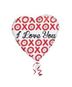 بادکنک قلبی سفید فویلی i love you