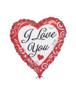 بادکنک ولنتاین قلبی سفید طرحدار قرمز