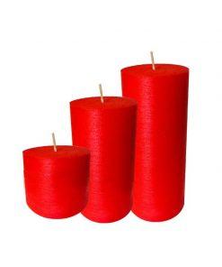 پک 3تایی شمع استوانه ای قرمز