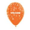 بادکنک نارنجی هلیومی طرح WELCOM